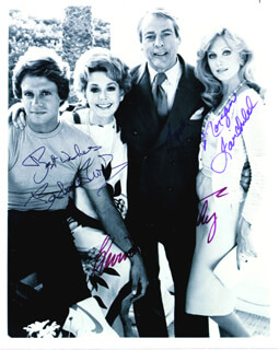 FLAMINGO ROAD TV CAST - AUTOGRAPHED SIGNED PHOTOGRAPH CO-SIGNED BY: MORGAN FAIRCHILD, KEVIN McCARTHY, BARBARA RUSH