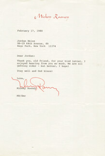 MICKEY ROONEY - TYPED LETTER SIGNED 02/17/1980