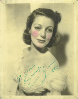 LORETTA YOUNG - AUTOGRAPHED INSCRIBED PHOTOGRAPH