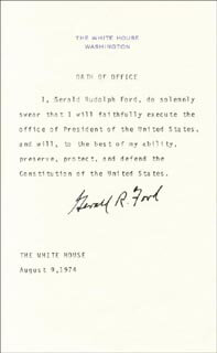 PRESIDENT GERALD R. FORD - PRESIDENTIAL OATH SIGNED CIRCA 1974