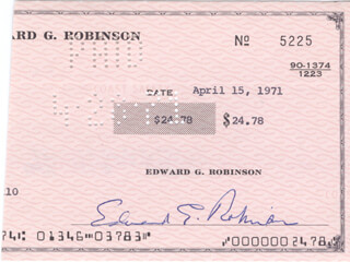 EDWARD G. ROBINSON - FRAGMENT SIGNED 04/15/1971