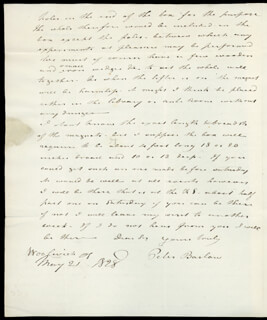 PETER BARLOW - AUTOGRAPH LETTER SIGNED 03/26/1833