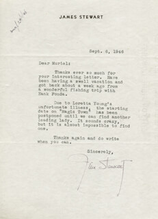 JAMES JIMMY STEWART - TYPED LETTER SIGNED 09/06/1946