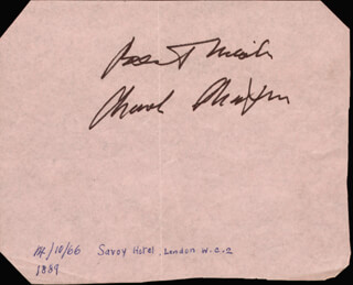 Autographs: CHARLIE THE LITTLE TRAMP CHAPLIN - AUTOGRAPH SENTIMENT SIGNED