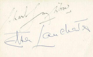 CHARLES LAUGHTON - AUTOGRAPH CO-SIGNED BY: ELSA LANCHESTER