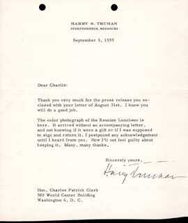 PRESIDENT HARRY S TRUMAN - TYPED LETTER SIGNED 09/03/1959