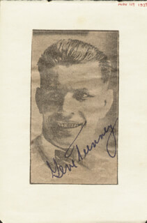 GENE TUNNEY - NEWSPAPER PHOTOGRAPH SIGNED CIRCA 1927