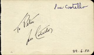 ABBOTT & COSTELLO (LOU COSTELLO) - INSCRIBED SIGNATURE CIRCA 1950 CO-SIGNED BY: MARK STEVENS