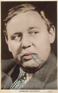 CHARLES LAUGHTON - PICTURE POST CARD SIGNED