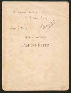 PIETRO MASCAGNI - INSCRIBED PROGRAM SIGNED 12/01/1891