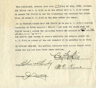 BEN TURPIN - CONTRACT SIGNED 07/27/1929