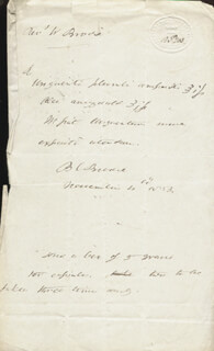 Autographs: SIR BENJAMIN C. BRODIE - AUTOGRAPH DOCUMENT SIGNED 11/04/1853