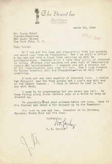 W. A. CURLEY - TYPED LETTER SIGNED 03/30/1944