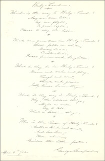 GEORGE COOPER - AUTOGRAPH POEM SIGNED 04/05/1912