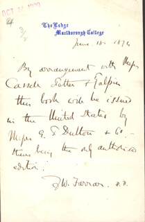 Autographs: FREDERIC WILLIAM FARRAR - AUTOGRAPH NOTE SIGNED 06/18/1876