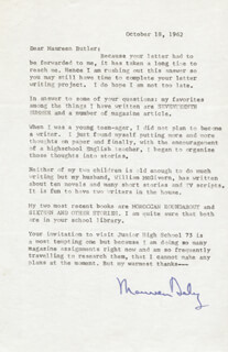 MAUREEN DALY - TYPED LETTER SIGNED 10/18/1962