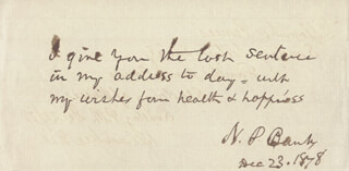 MAJOR GENERAL NATHANIEL P. BANKS - AUTOGRAPH NOTE SIGNED 12/23/1878