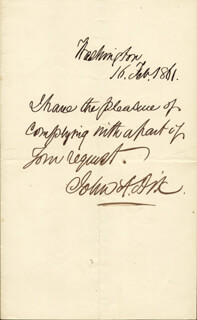 MAJOR GENERAL JOHN A. DIX - AUTOGRAPH NOTE SIGNED 02/16/1861