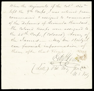 MAJOR GENERAL EDWARD FERRERO - MANUSCRIPT LETTER SIGNED