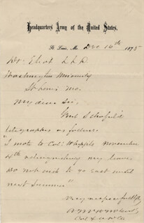 MAJOR GENERAL EDWARD MOODY MCCOOK - AUTOGRAPH LETTER SIGNED 12/16/1875