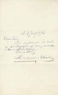 MAJOR GENERAL ALEXANDER SHALER - AUTOGRAPH NOTE SIGNED 01/09/1893