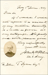 MAJOR GENERAL JOHN E. WOOL - AUTOGRAPH LETTER SIGNED 06/01/1859