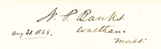 MAJOR GENERAL NATHANIEL P. BANKS - AUTOGRAPH 08/31/1868