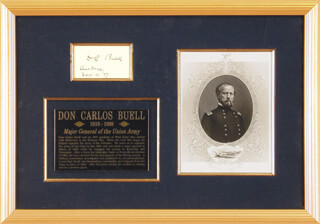 MAJOR GENERAL DON CARLOS BUELL - ANNOTATED CARD SIGNED 11/04/1887