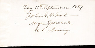 Autographs: MAJOR GENERAL JOHN E. WOOL - SIGNATURE(S) 09/11/1867