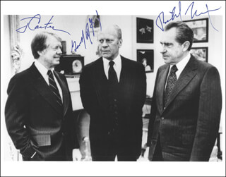 THE THREE PRESIDENTS - AUTOGRAPHED SIGNED PHOTOGRAPH CIRCA 1978 CO-SIGNED BY: PRESIDENT JAMES E. JIMMY CARTER, PRESIDENT RICHARD M. NIXON, PRESIDENT GERALD R. FORD