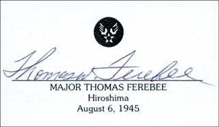 Autographs: ENOLA GAY CREW (COLONEL THOMAS W. FEREBEE) - PRINTED CARD SIGNED IN INK