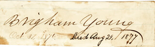 BRIGHAM YOUNG - AUTOGRAPH 10/31/1876