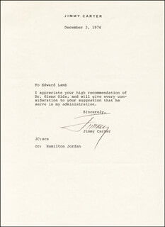 Autographs: PRESIDENT JAMES E. JIMMY CARTER - TYPED LETTER SIGNED 12/02/1976