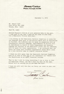 PRESIDENT JAMES E. JIMMY CARTER - TYPED LETTER SIGNED 09/02/1976