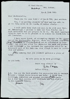 SIR JULIAN S. HUXLEY - TYPED LETTER SIGNED 03/12/1973