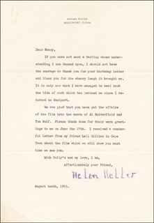 HELEN KELLER - TYPED LETTER SIGNED 08/10/1955