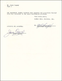 JAMES CAGNEY - CONTRACT SIGNED 04/30/1951