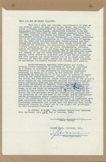 Autographs: JAMES CAGNEY - CONTRACT SIGNED 10/14/1931 CO-SIGNED BY: JACK L. SPORTING BLOOD WARNER