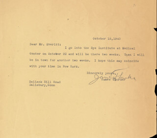 JAMES G. THURBER - TYPED LETTER SIGNED 10/15/1940