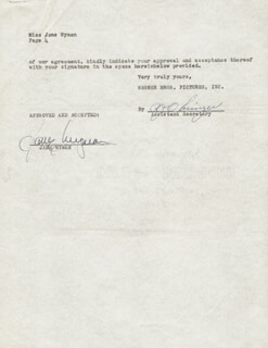 JANE WYMAN - DOCUMENT SIGNED 01/31/1952