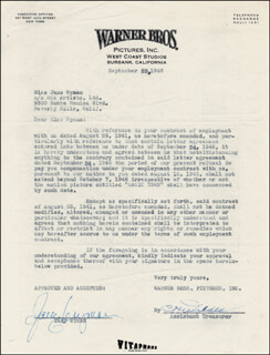 JANE WYMAN - DOCUMENT SIGNED 09/25/1946