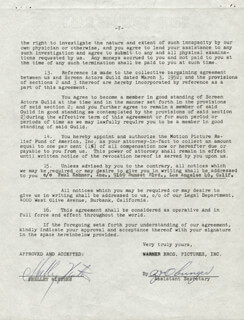 SHELLEY WINTERS - DOCUMENT SIGNED 01/19/1955
