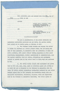 BURT LANCASTER - CONTRACT SIGNED 07/09/1949