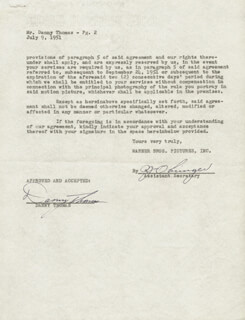 DANNY THOMAS - CONTRACT SIGNED 07/09/1951