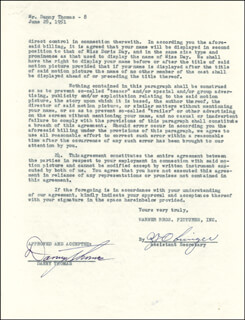 DANNY THOMAS - CONTRACT SIGNED 06/28/1951