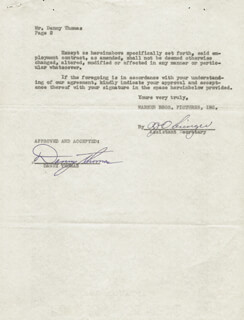 DANNY THOMAS - CONTRACT SIGNED 02/25/1953