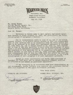 DANNY THOMAS - CONTRACT SIGNED 05/12/1952