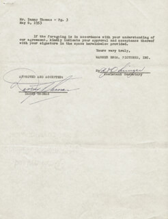 DANNY THOMAS - CONTRACT SIGNED 05/06/1953