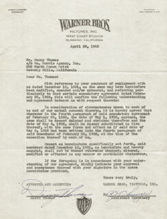 DANNY THOMAS - CONTRACT SIGNED 04/29/1953