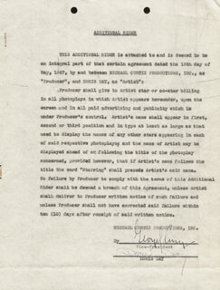 DORIS DAY - CONTRACT SIGNED 05/15/1947